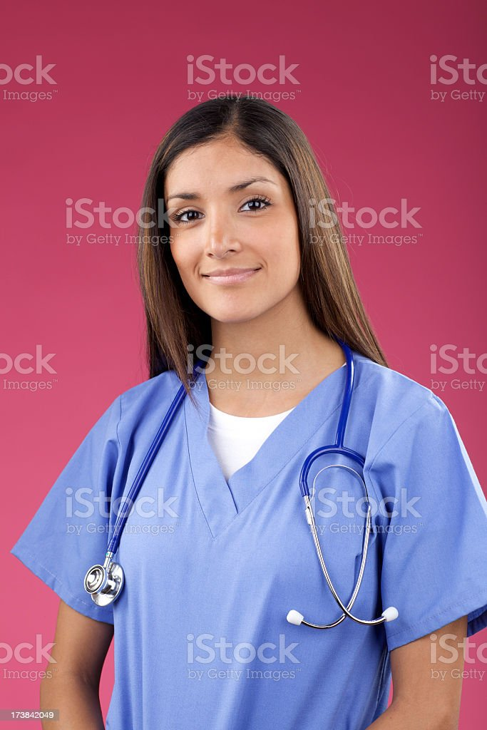 Attractive health care provider on bright background royalty-free stock photo