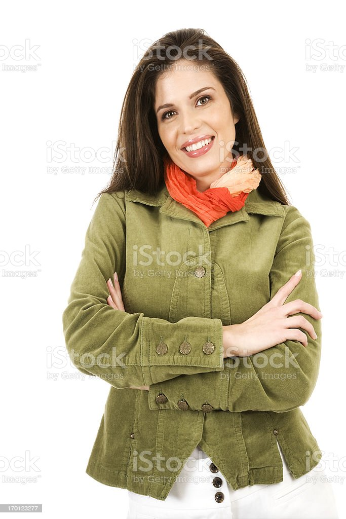 Attractive Hispanic business woman green jacket fresh face bright smile royalty-free stock photo