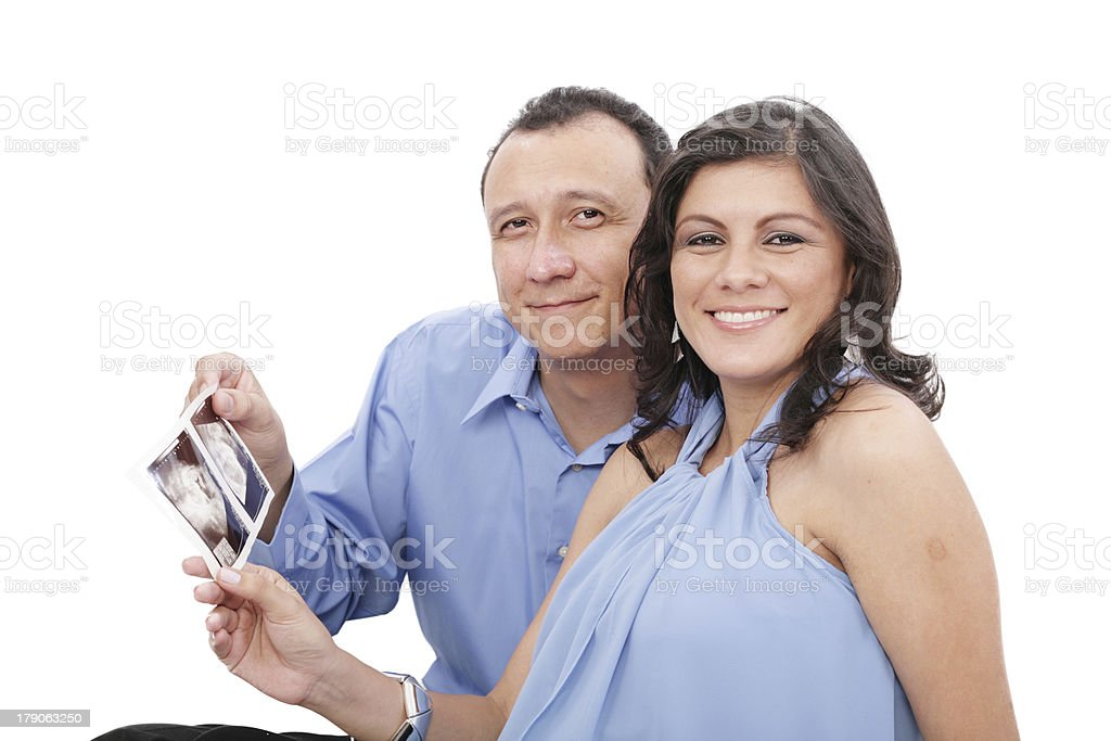 Attractive hispanic young pregnant couple royalty-free stock photo