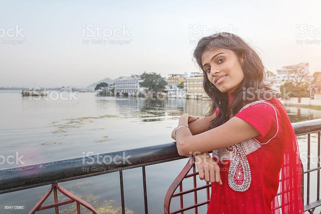Attractive Indian Bollywood Model at Udaipur City Palace Bridge stock photo