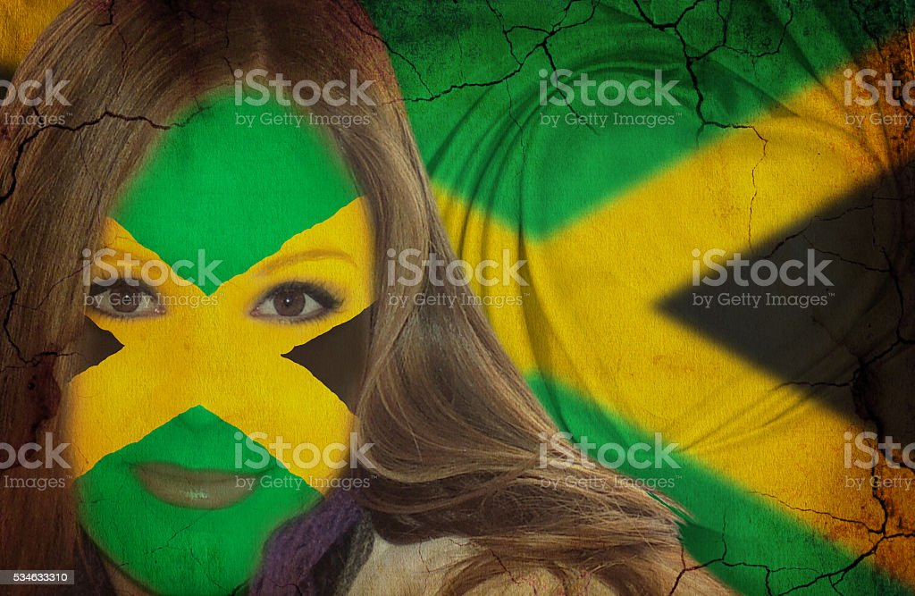 Attractive Jamaican lady fan stock photo