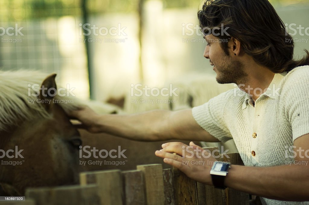 Attractive male and horse royalty-free stock photo