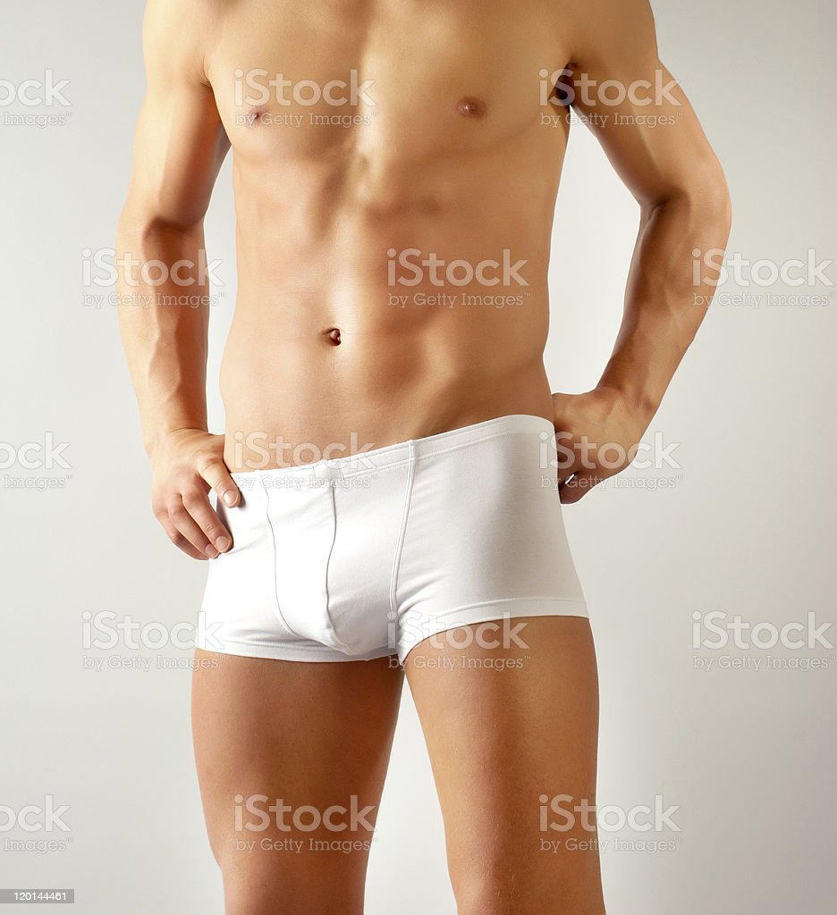 attractive male body with white underwear stock photo