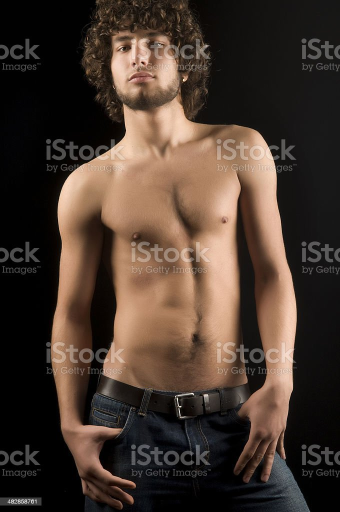 attractive male with jean royalty-free stock photo