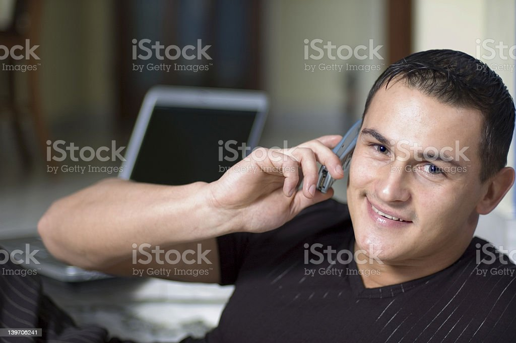 Attractive man in a conversation royalty-free stock photo
