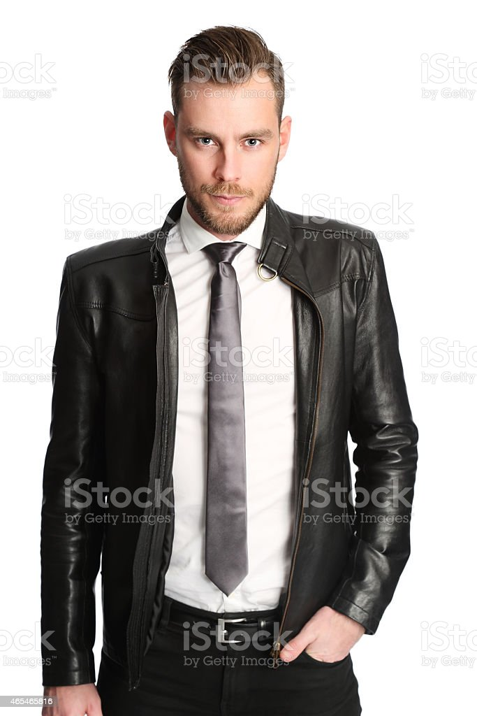 Attractive man in a leather jacket stock photo