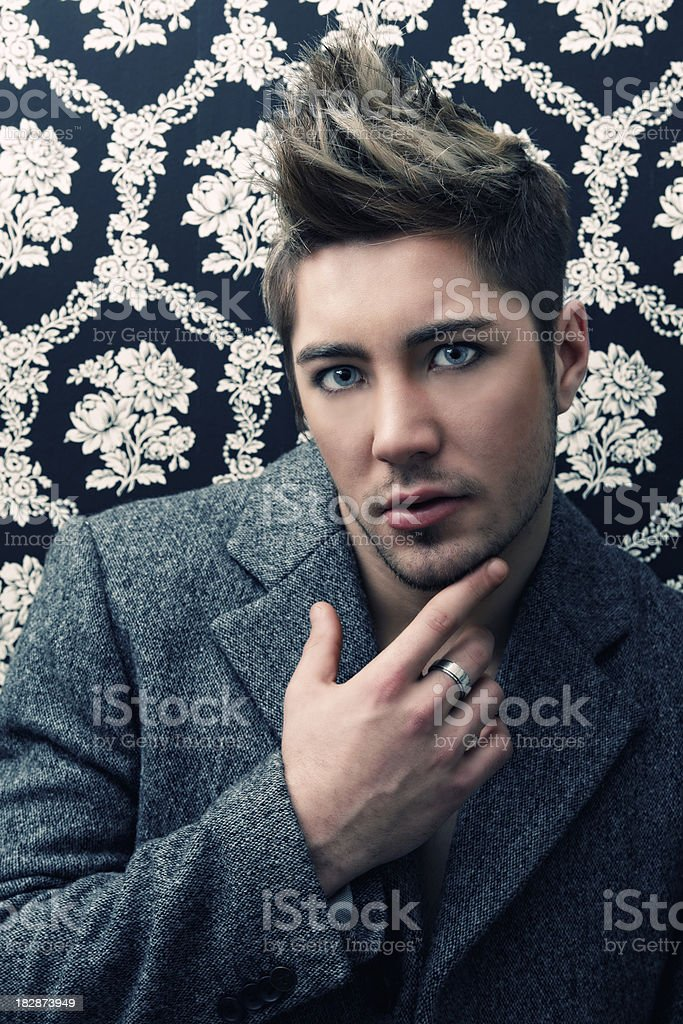 Attractive man in coat royalty-free stock photo
