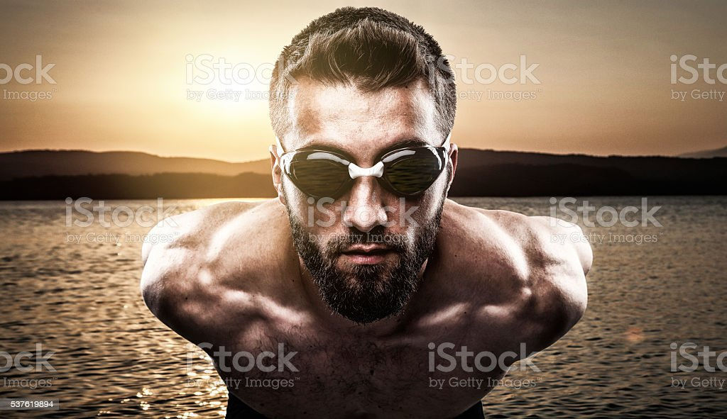 Attractive man is waiting for the start stock photo