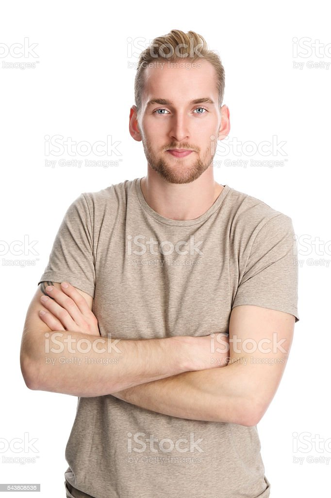 Attractive man isolated on white background stock photo
