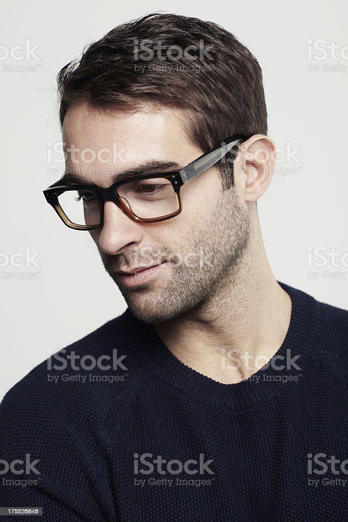 Attractive man wearing designer glasses stock photo