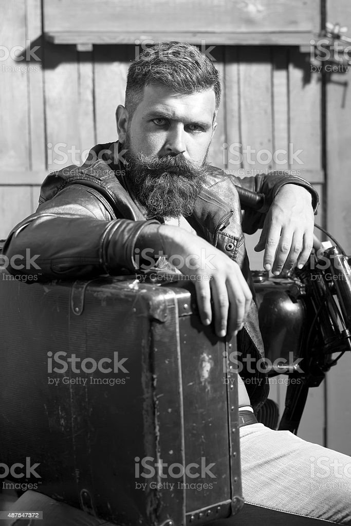 Attractive man with briefcase stock photo