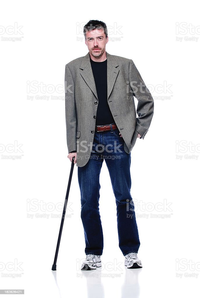 Attractive Man with Cane stock photo
