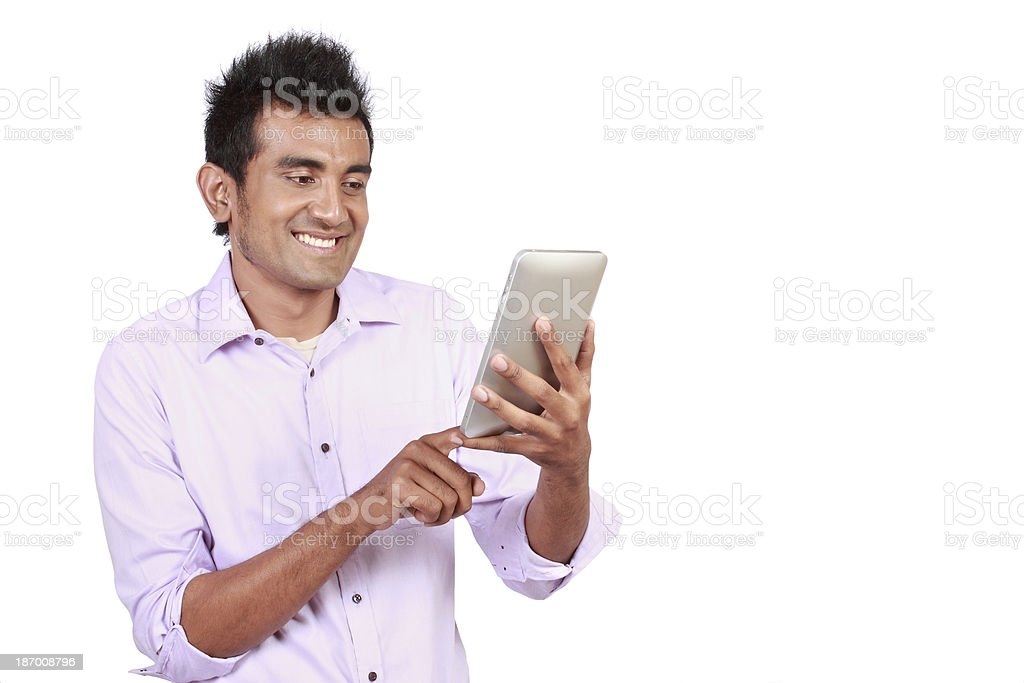 Attractive man with touchpad royalty-free stock photo