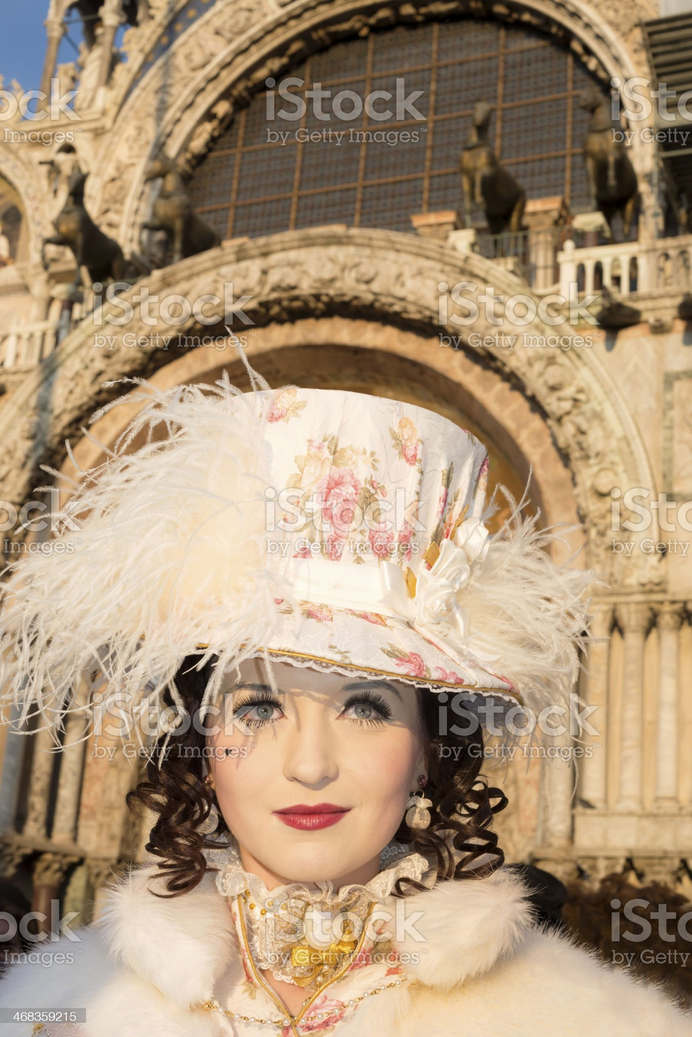Attractive Mask by Doges Palace, Carnival Venice, Italy, Europe royalty-free stock photo