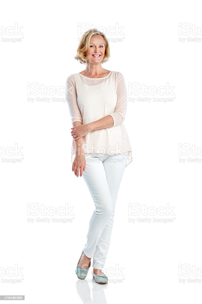 Attractive mature woman posing on white stock photo