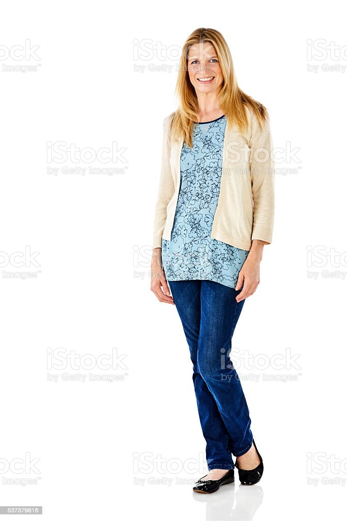 Attractive mature woman standing over white stock photo