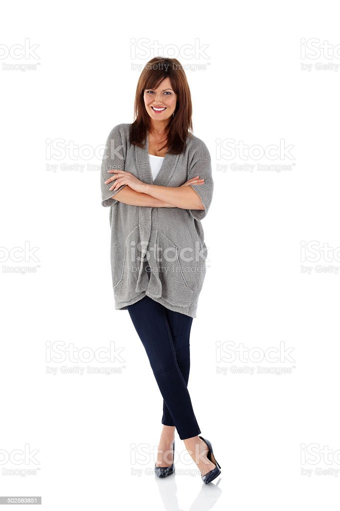 Attractive mature woman standing relaxed stock photo