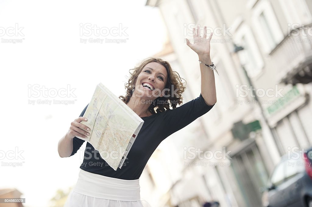 Attractive Mature Woman Traveling in Italian City royalty-free stock photo