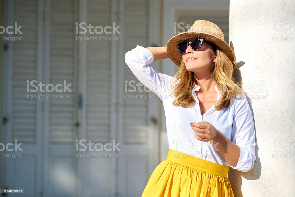 Attractive middle aged woman portait stock photo