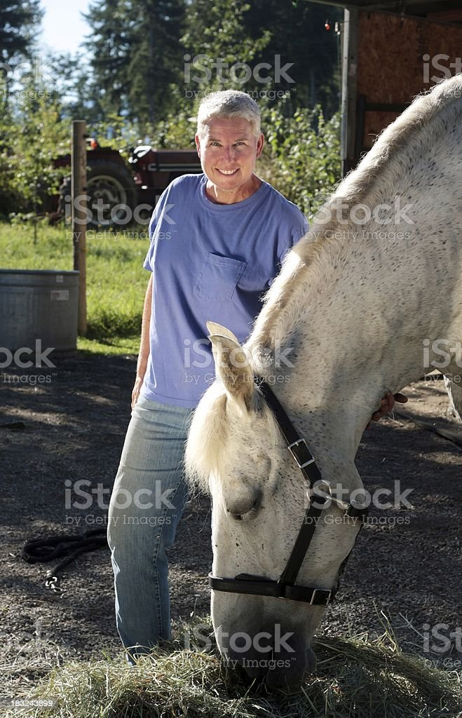 Attractive Middle-Aged Woman with Percheron Draft Horse stock photo