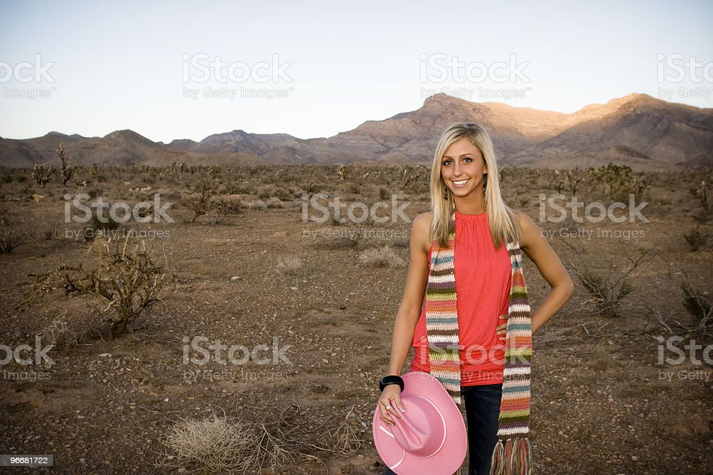 Attractive model in the desert stock photo