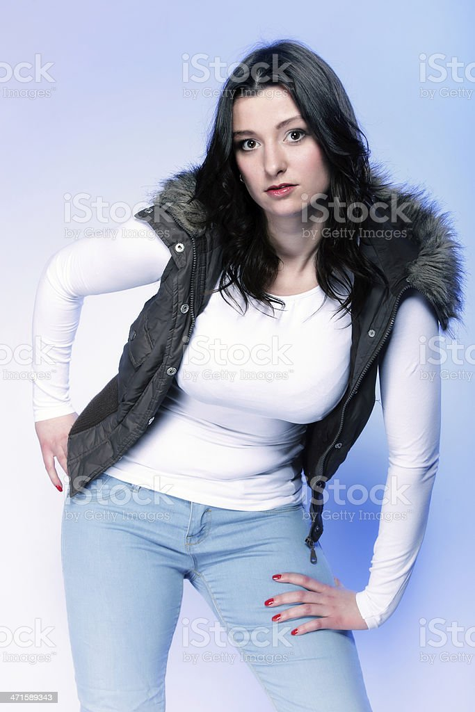 Attractive plus size model in casual clothes royalty-free stock photo
