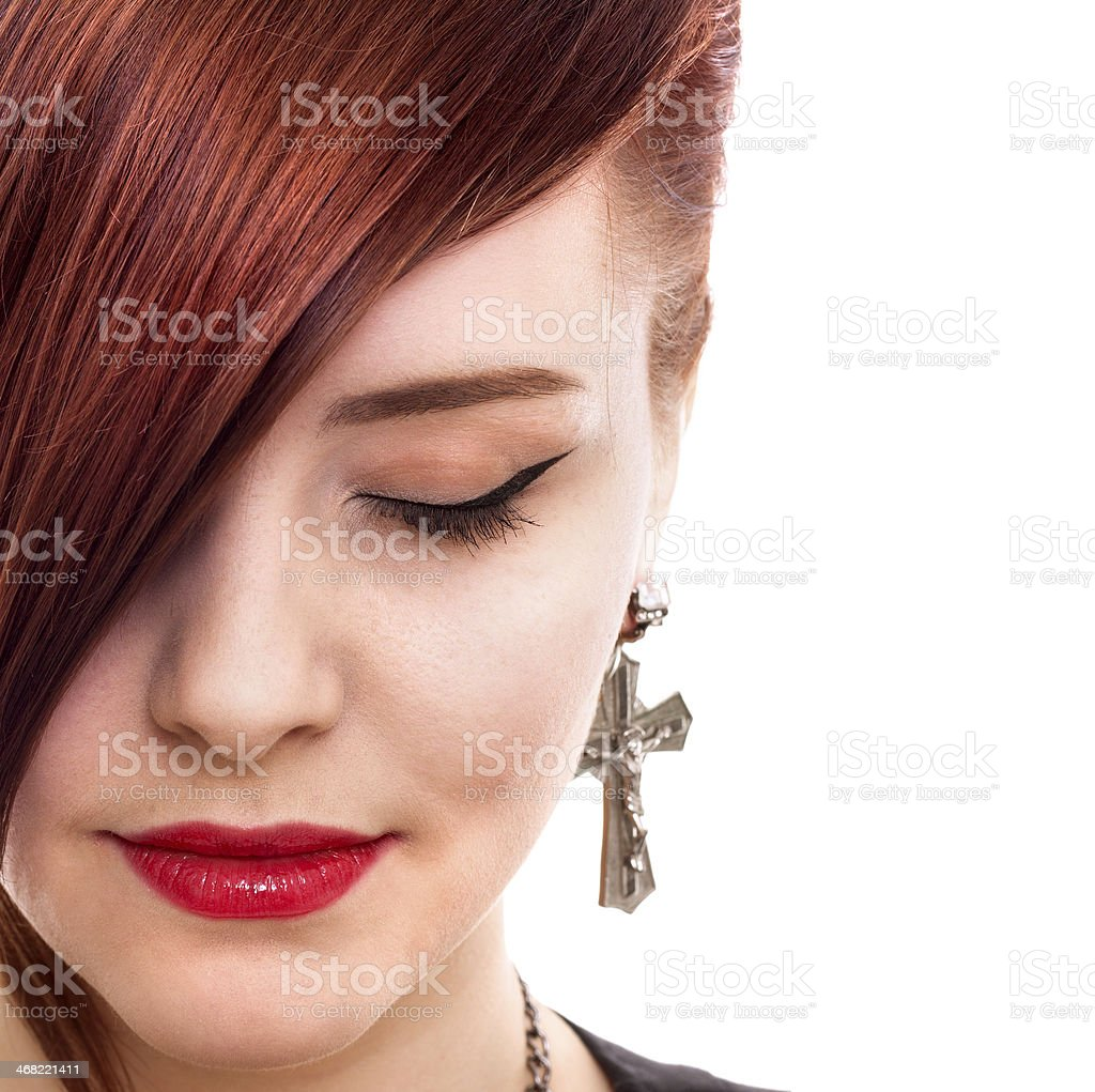 attractive red hair woman close up style portrait stock photo