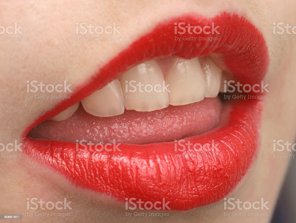 Attractive red lips stock photo