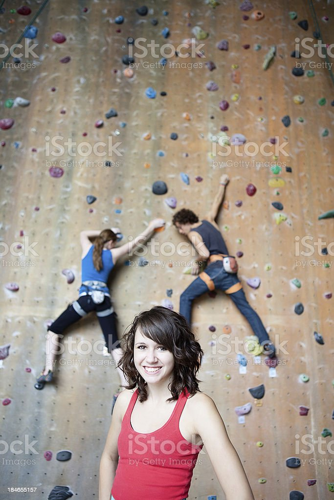 Attractive rock climber stock photo