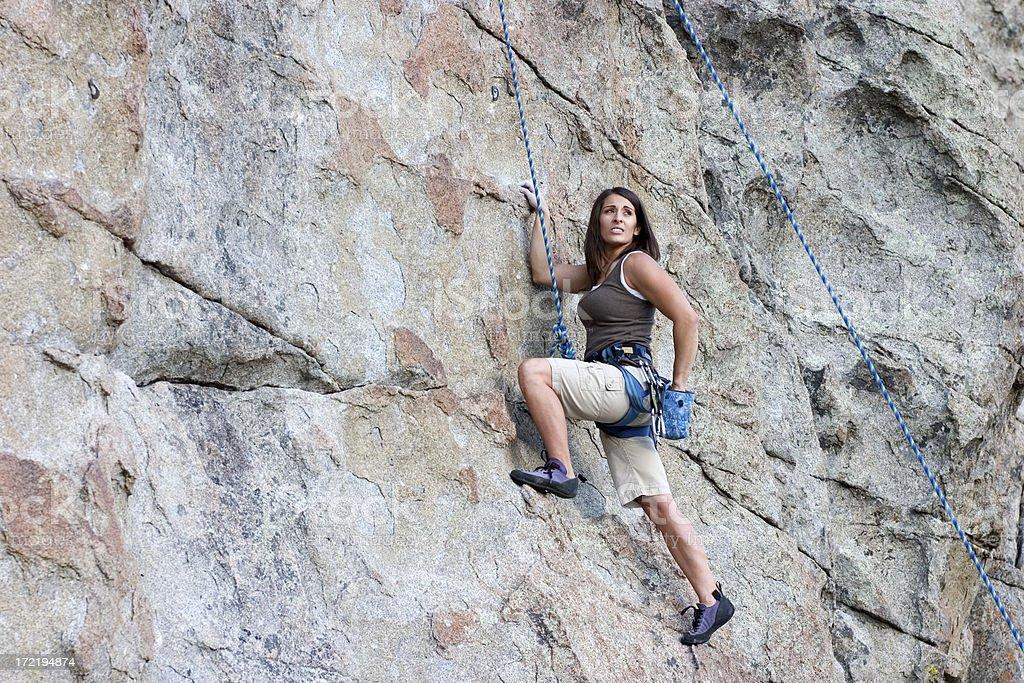 Attractive Rock Climbing Woman royalty-free stock photo