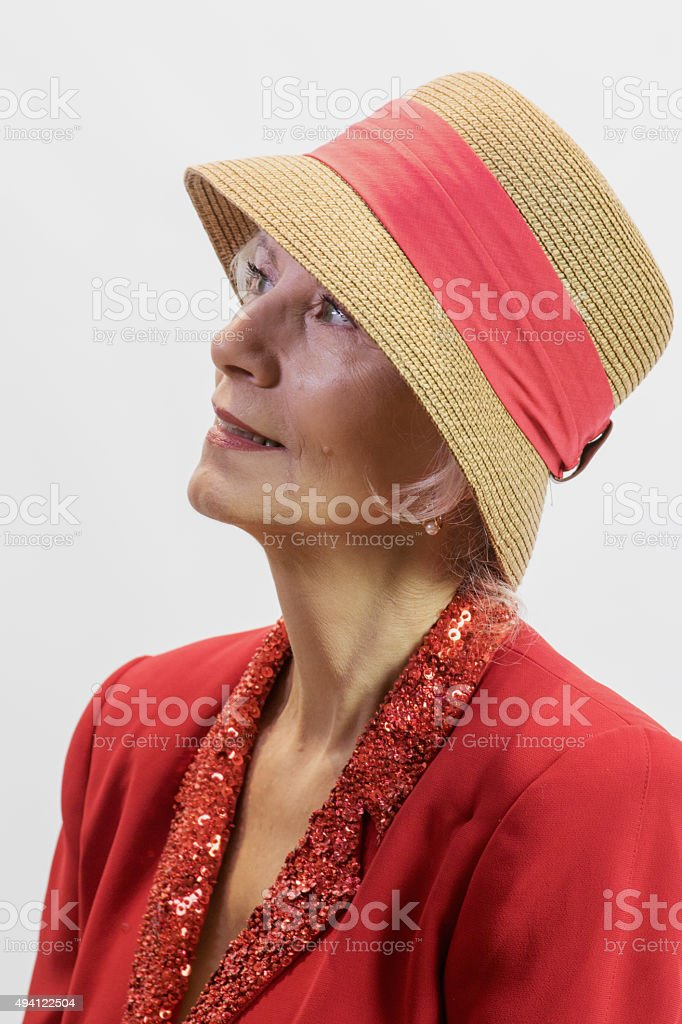 Attractive Senior Adult Female Looking Upward stock photo