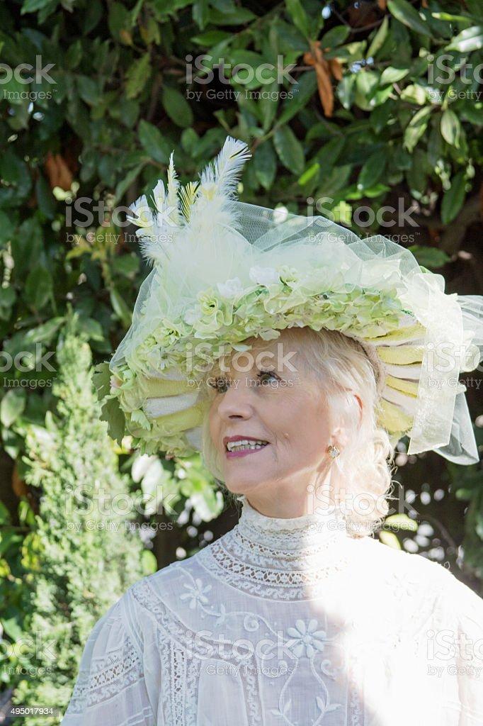 Attractive Senior Female Adult Looking Upward stock photo