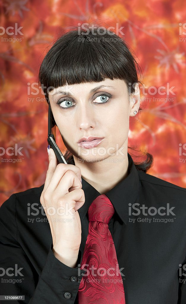 Attractive Serious Woman Phoning royalty-free stock photo