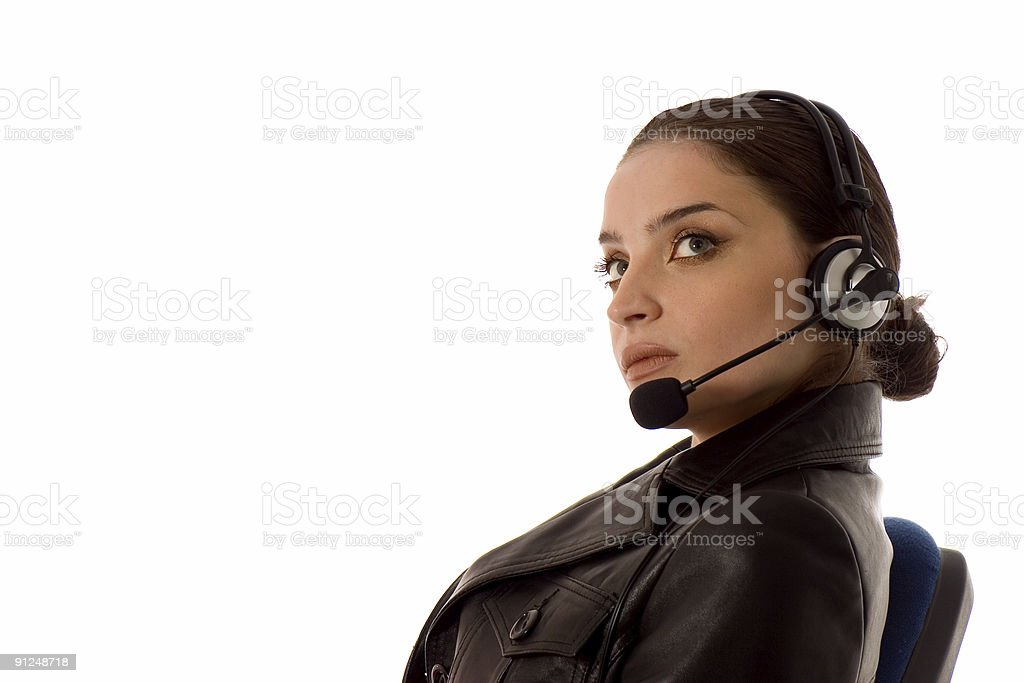 attractive service operater stock photo