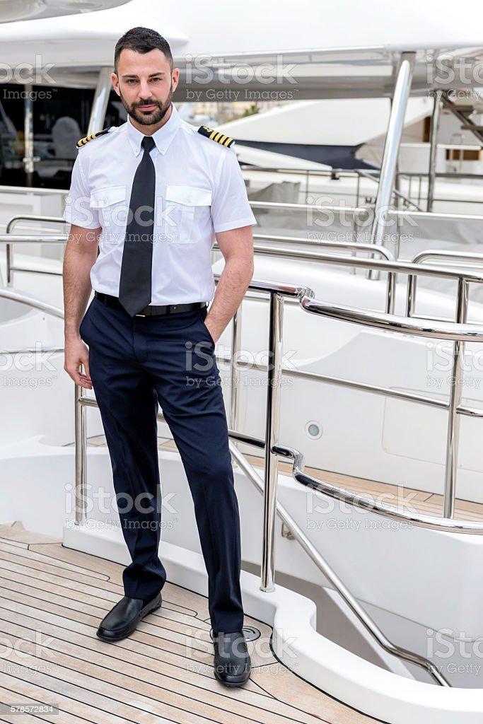 Attractive ship captain stock photo
