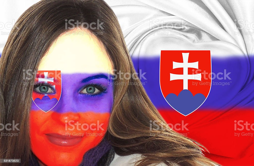 Attractive Slovakian woman in front of flag stock photo