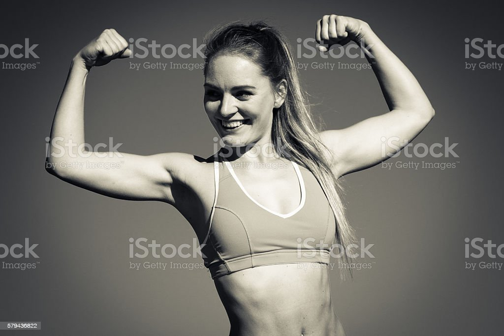 Attractive sporty girl outdoor stock photo