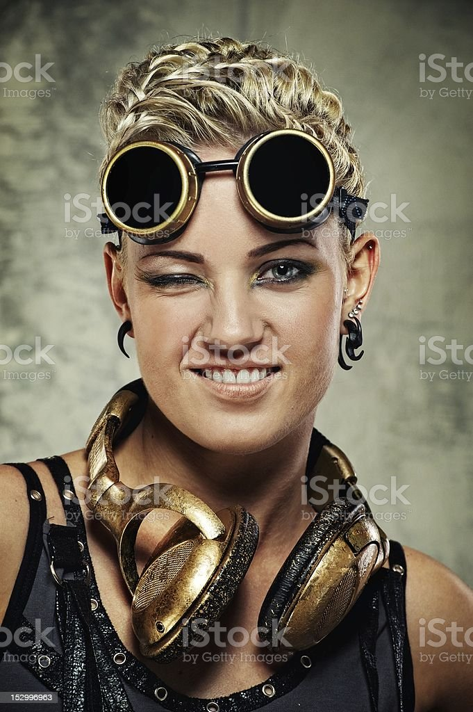 Attractive steam punk girl royalty-free stock photo