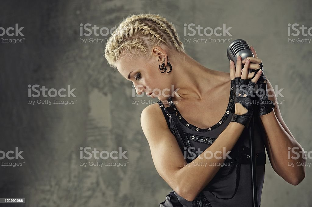 Attractive steam punk singer royalty-free stock photo