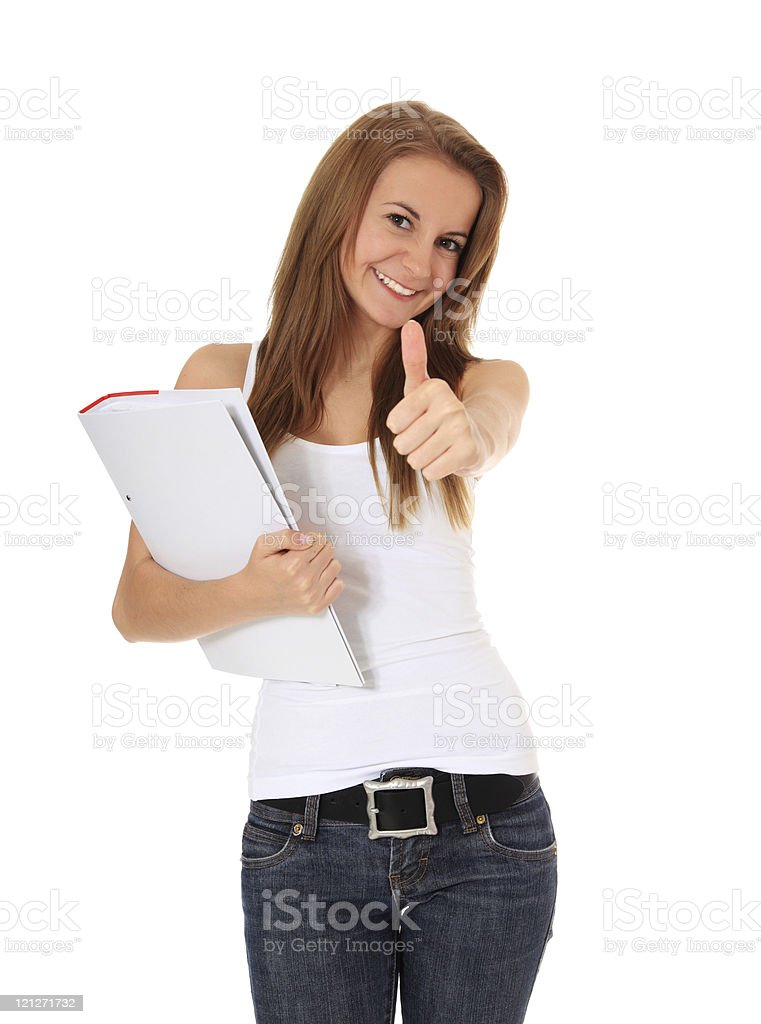Attractive student showing thumbs up stock photo