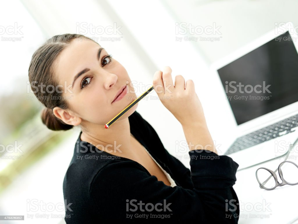 Attractive stylish young businesswoman stock photo