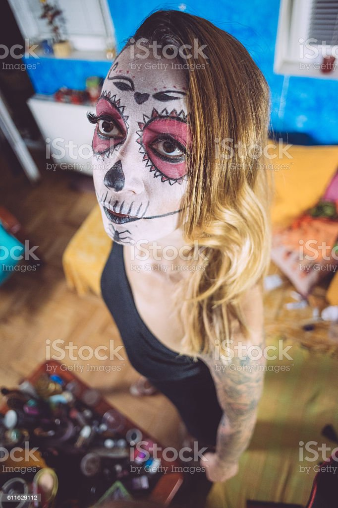 Attractive Sugar Skull Beauty stock photo