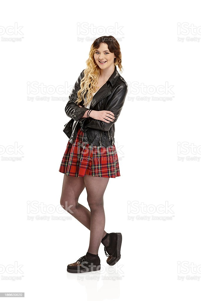 Attractive teenage girl posing on white royalty-free stock photo