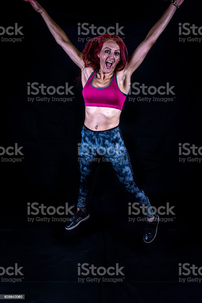 Attractive thirty year old sporty woman stock photo