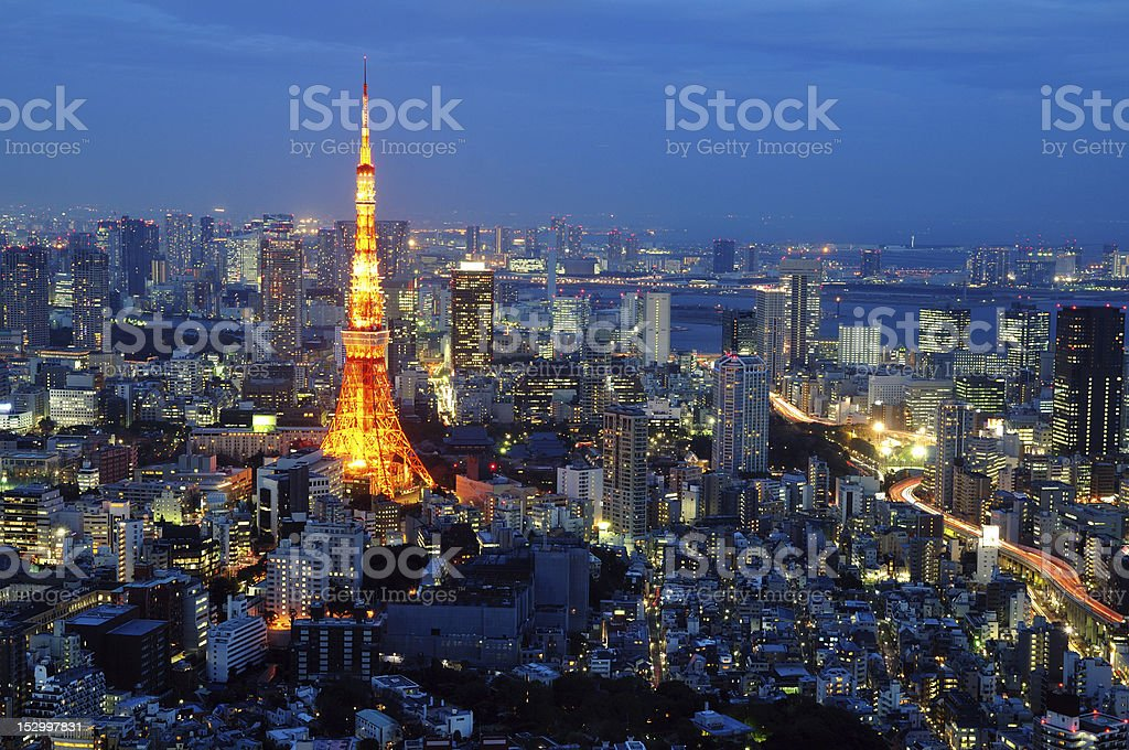 Attractive Tokyo tower after sunset stock photo