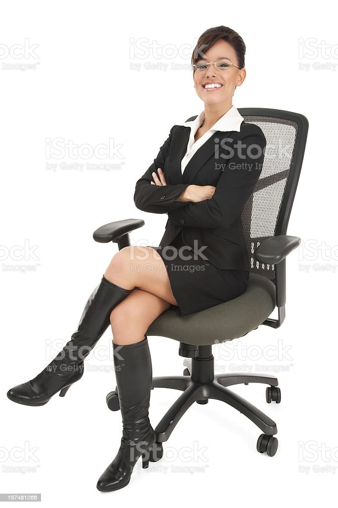 Attractive Trendy Young Businesswoman on Office Chair royalty-free stock photo
