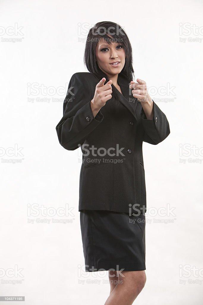 Attractive twenties brunette hispanic businesswoman stock photo