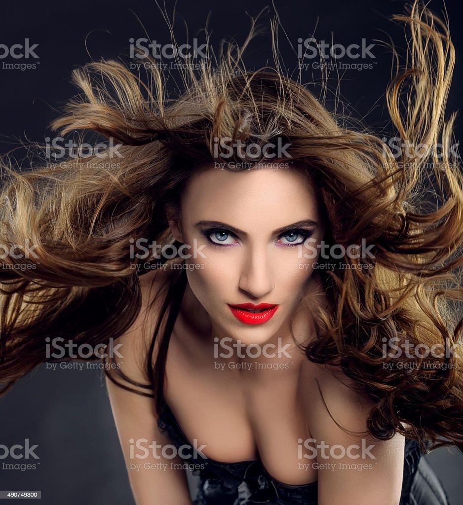 attractive vampire woman stock photo