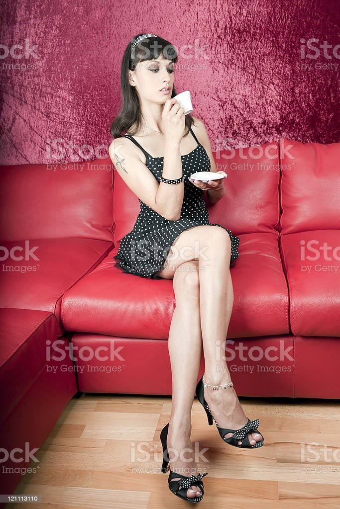 Attractive Vintage Woman Drinking Coffee royalty-free stock photo