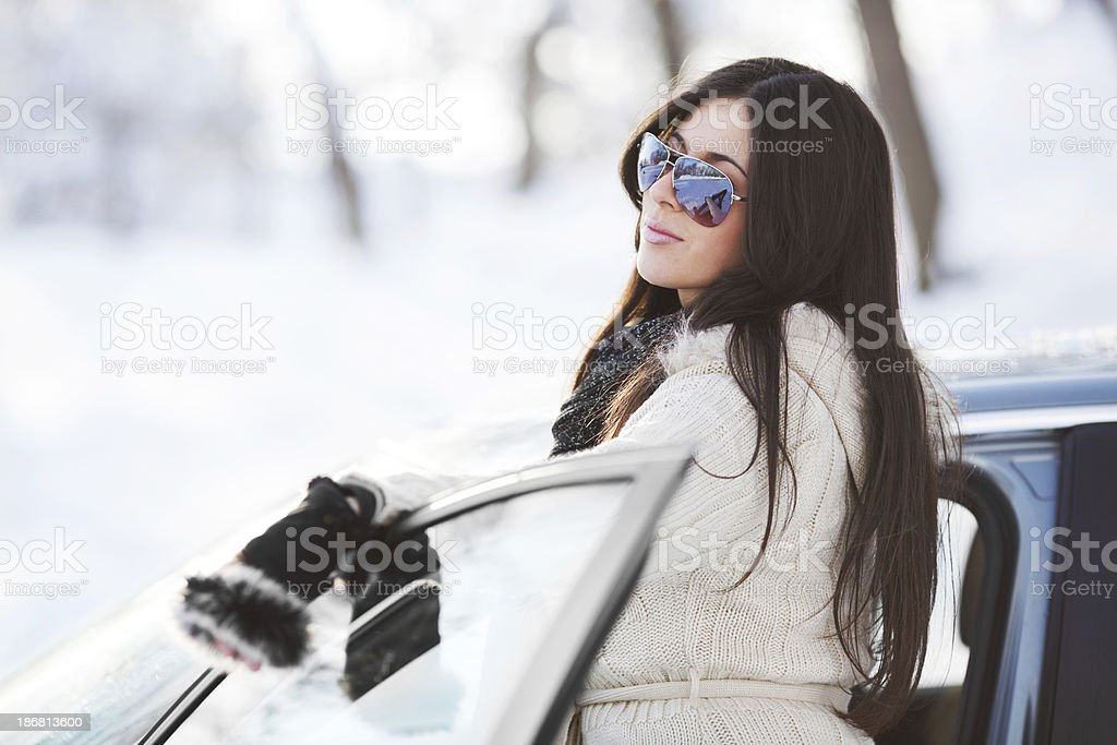 Attractive woman and car. royalty-free stock photo